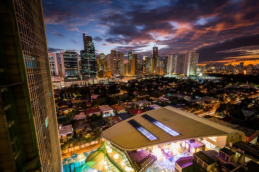 View of the skyline of Makati at sunset in Metro Manila The Philippines.