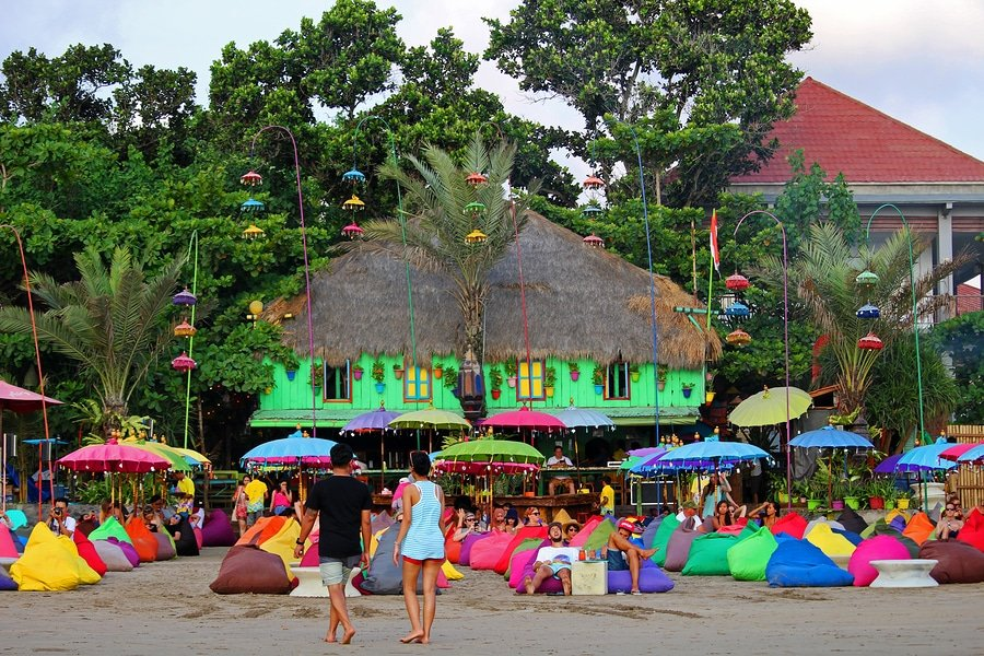 A colorful beach bar in Canggu Beach, Seminyak