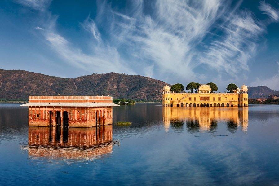 Jal Mahal (Water Palace) on Man Sagar Lake on sunset.  Jaipur, Rajasthan, India