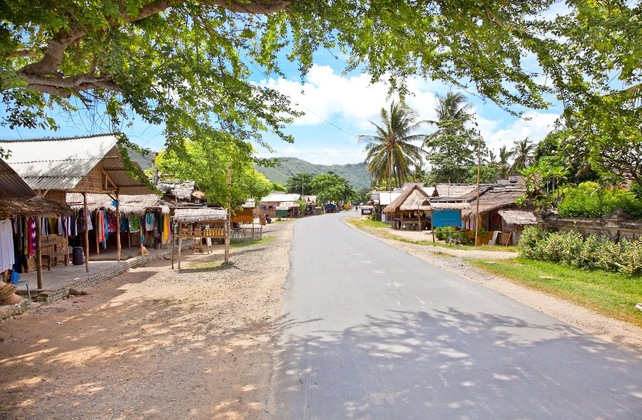 Main street in Kuta village, Lombok. Indonesia