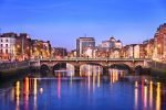 Dublin city on banks of river Liffey in  Ireland