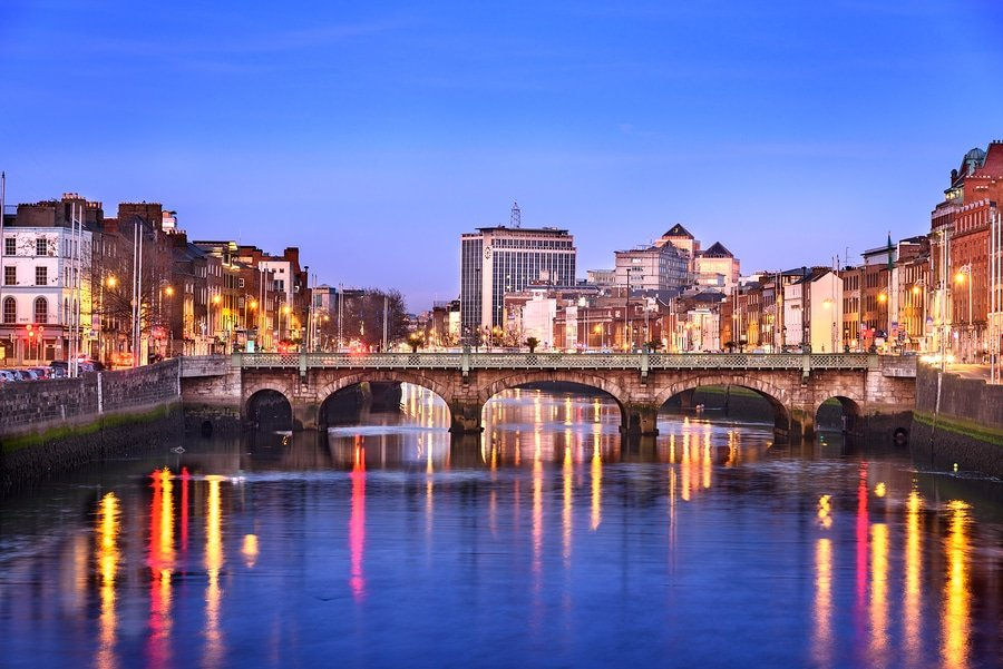 Dublin city on banks of river Liffey in  Ireland