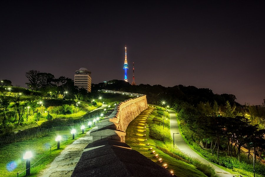 View of Seoul tower from Namsan Seonggwak Park.
