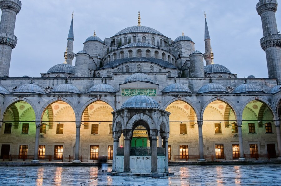 Sultan Ahmed Mosque also known as the Blue Mosque at dusk in Istanbul. Turkey