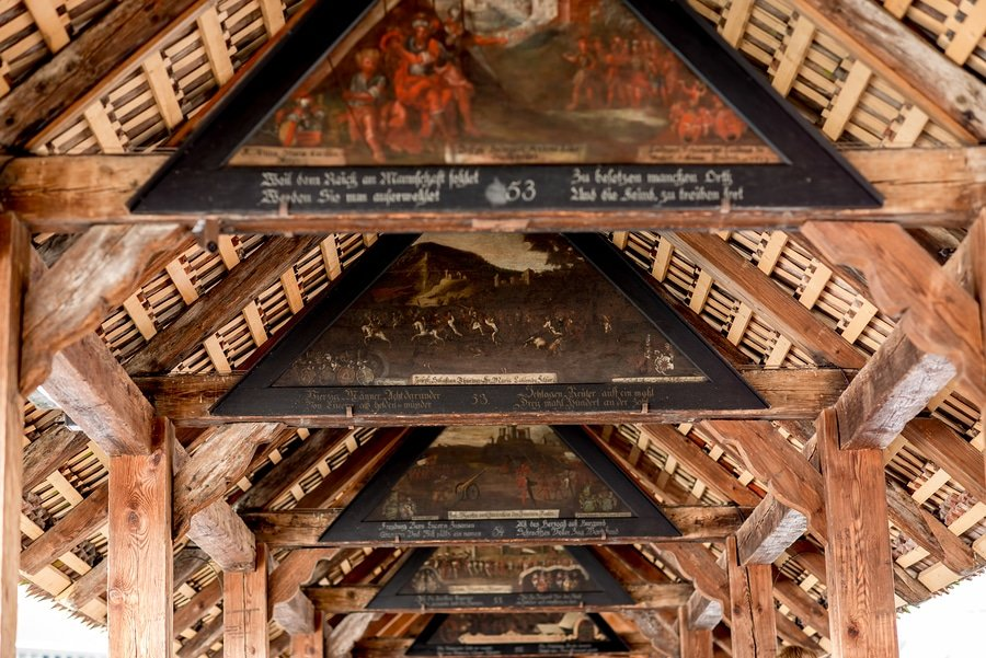 Paintings on the oldest wooden bridge in Lucerne city in Switzerland