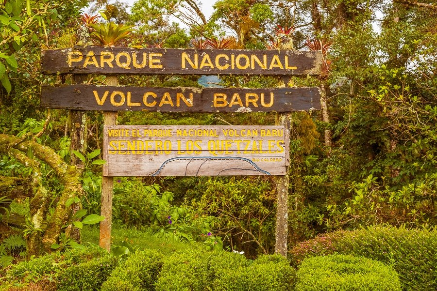 Volcan Baru National Park Sign In Boquete, Panama
