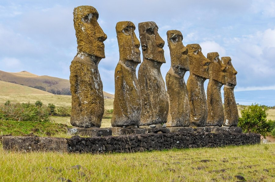 Ahu Akivi moais are the only moai statues facing towards the ocean in Easter Island, Chile