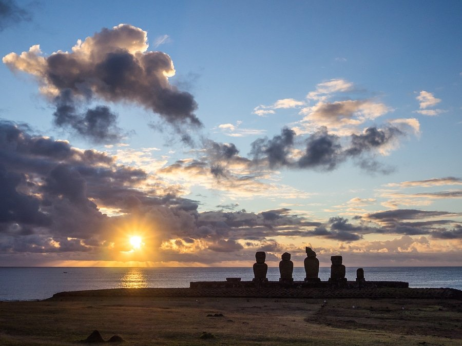 Easter Island statues at sundown