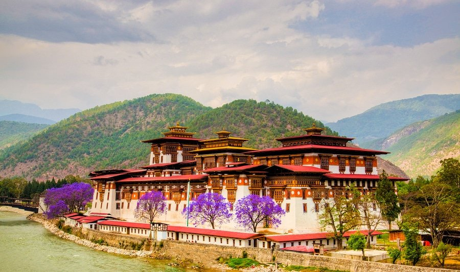 "The Punakha Dzong also known as Pungtang Dechen Photrang Dzong (meaning ""the palace of great happiness or bliss"" is the administrative centre of Punakha dzongkhag in Punakha Bhutan. Constructed by Zhabdrung (Shabdrung) Ngawang Namgyal in 1637-38"