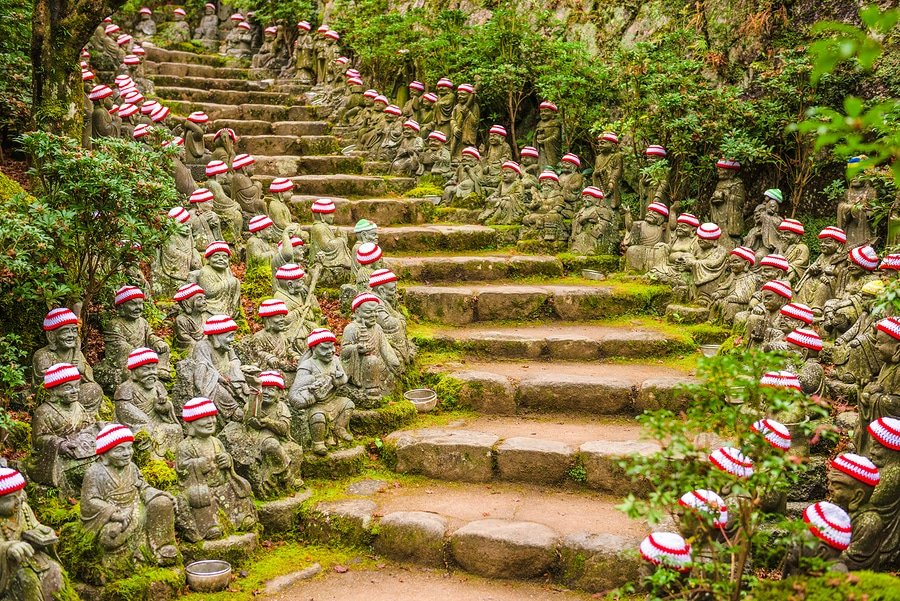 Miyajima Island, Hiroshima, Japan at the buddha lined pathways at Daisho-in Temple grounds