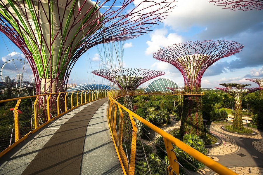 Gardens by the Bay is a nature park spanning 101 hectares of reclaimed land in the heart of Singapore, adjacent to the Marina Reservoir. The park consists of three waterfront gardens: Bay South Garden, Bay East Garden and Bay Central Garden