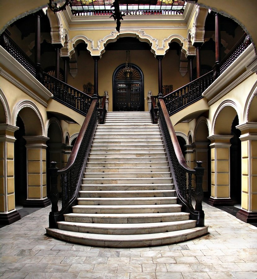 Colonial staircase at Archbishops Palace in Lima, Peru