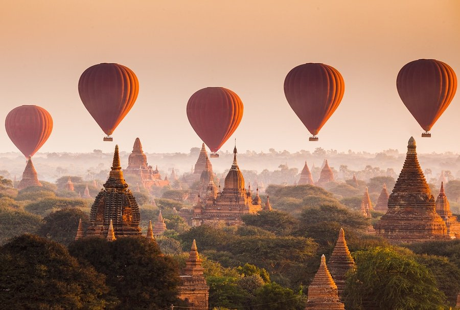 Balloons Over Plain Of Bagan In Misty Morning, Myanmar