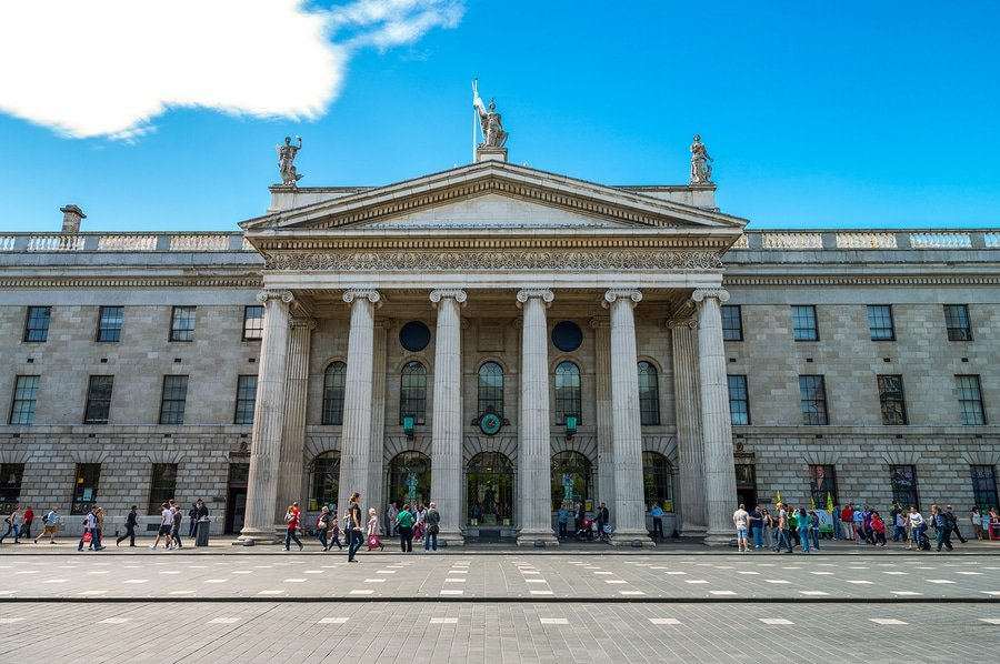 The General Post Office in Dublin is the headquarters of the Irish Post Office and Dublin's principal post office