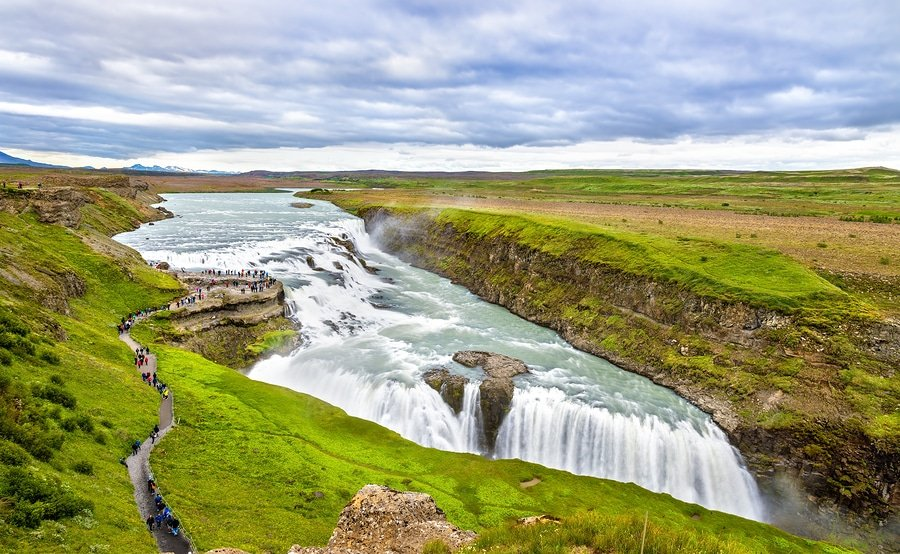 Gullfoss Waterfall in the canyon of the Hvita river - Iceland