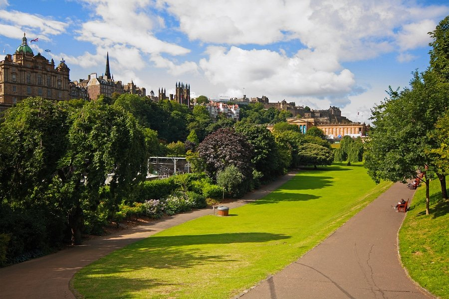 Princes Street Gardens on summer day in Edinburgh Scotland