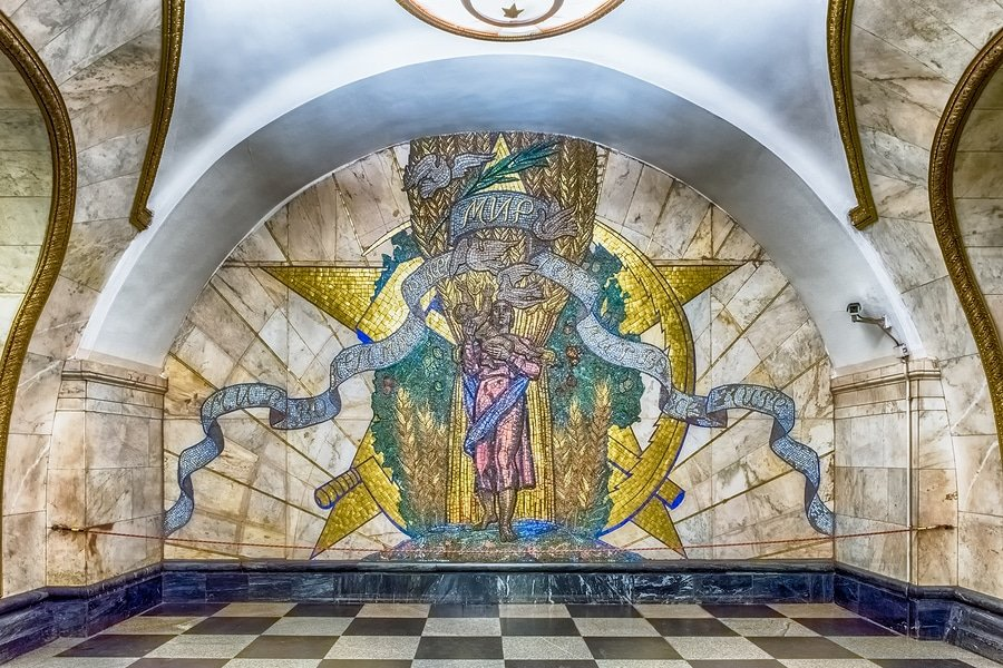 Mosaic art in Novoslobodskaya subway station Moscow Russia. The station is on the Koltsevaya Line of the Moscow Metro and opened in 1952