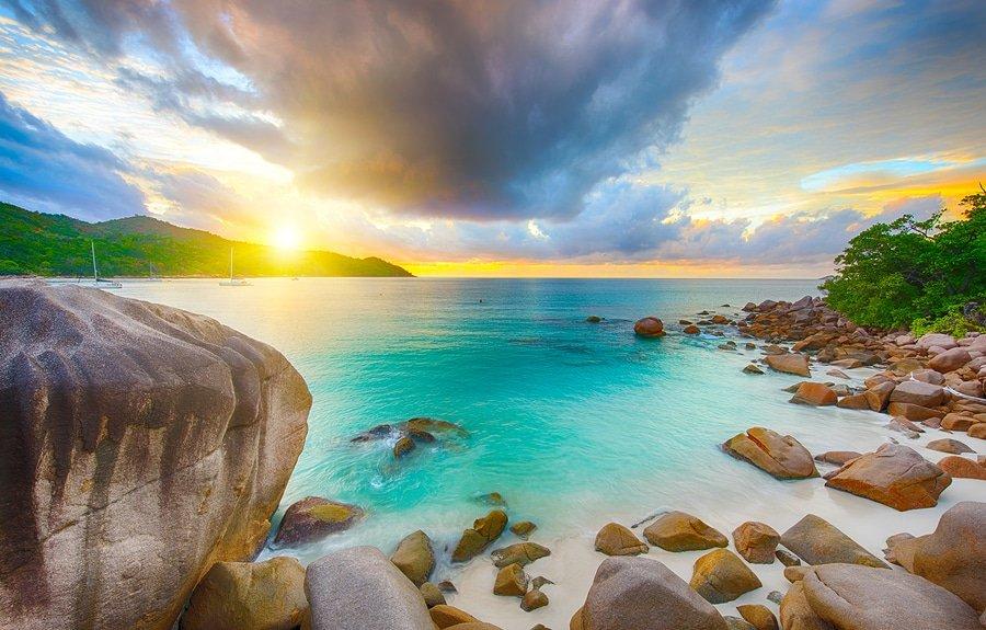 Beautiful sunset over the famous beach Anse Lazio, Praslin Island