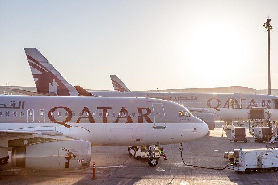 Qatar Airways Airplanes At The Qatar International Airport in Doha